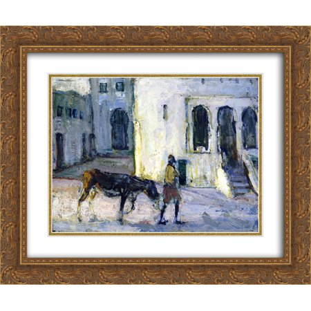 Henry Ossawa Tanner 2x Matted 24x20 Gold Ornate Framed Art Print 'Man Leading a Donkey in Front of the Palais de Justice, Tangier
