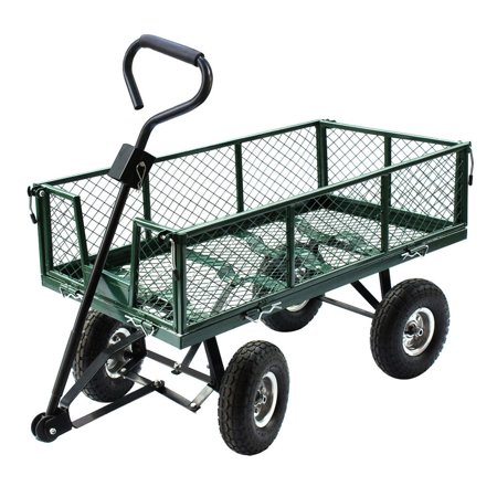 Gizmo Supply Heavy Duty Utility Wheelbarrow Lawn Wagon Cart Dump Trailer Yard Garden Steel (Dump Trailer)