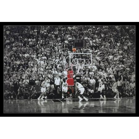 Michael Jordan Last Shot Title Winning Last Shot In Chicago Poster Poster (The Best Shot Of Michael Jordan)