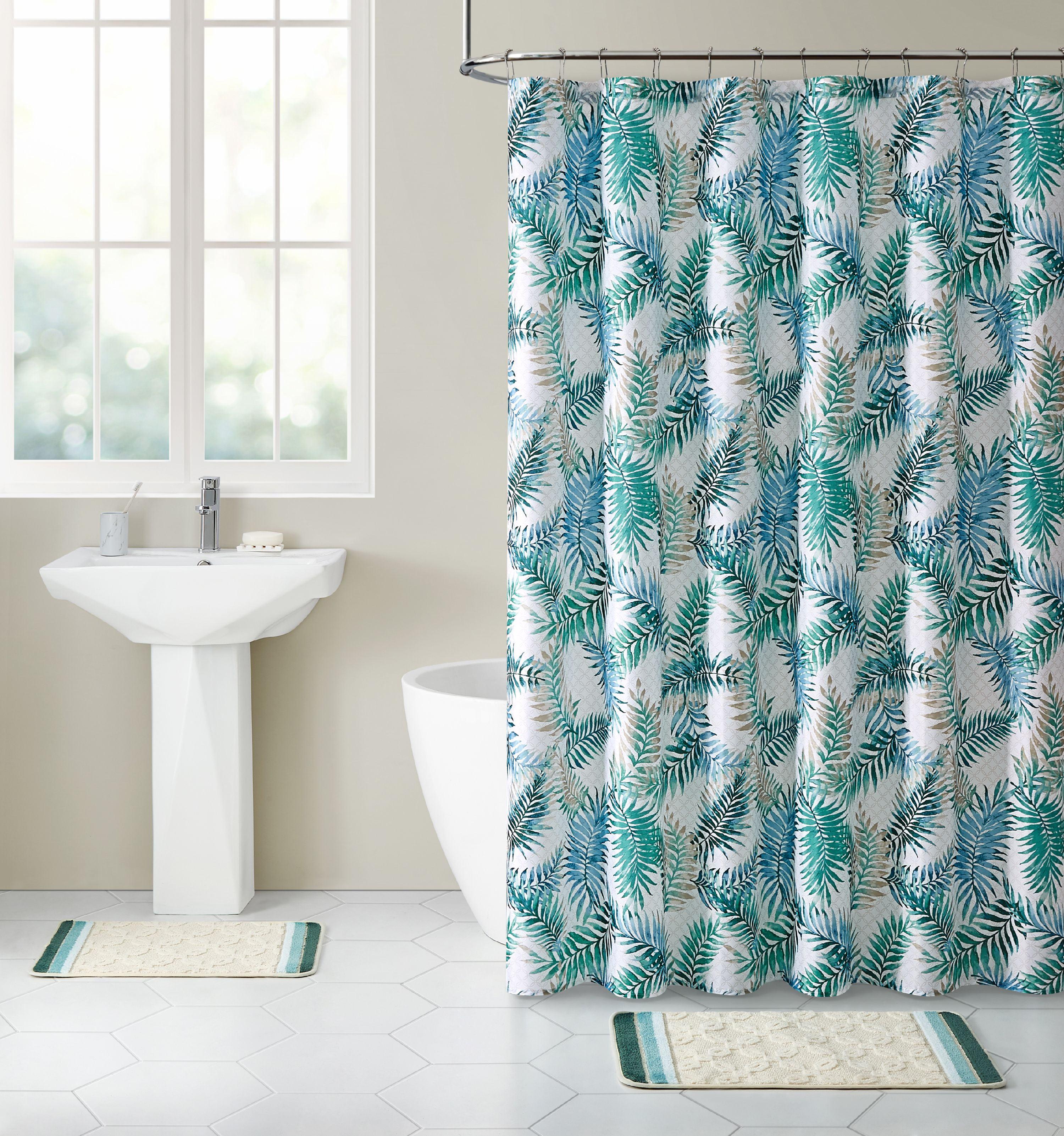 Mainstays BATHROOM SET Gray Blue SHOWER CURTAIN Hooks MICROFIBER TEXTURED RUG