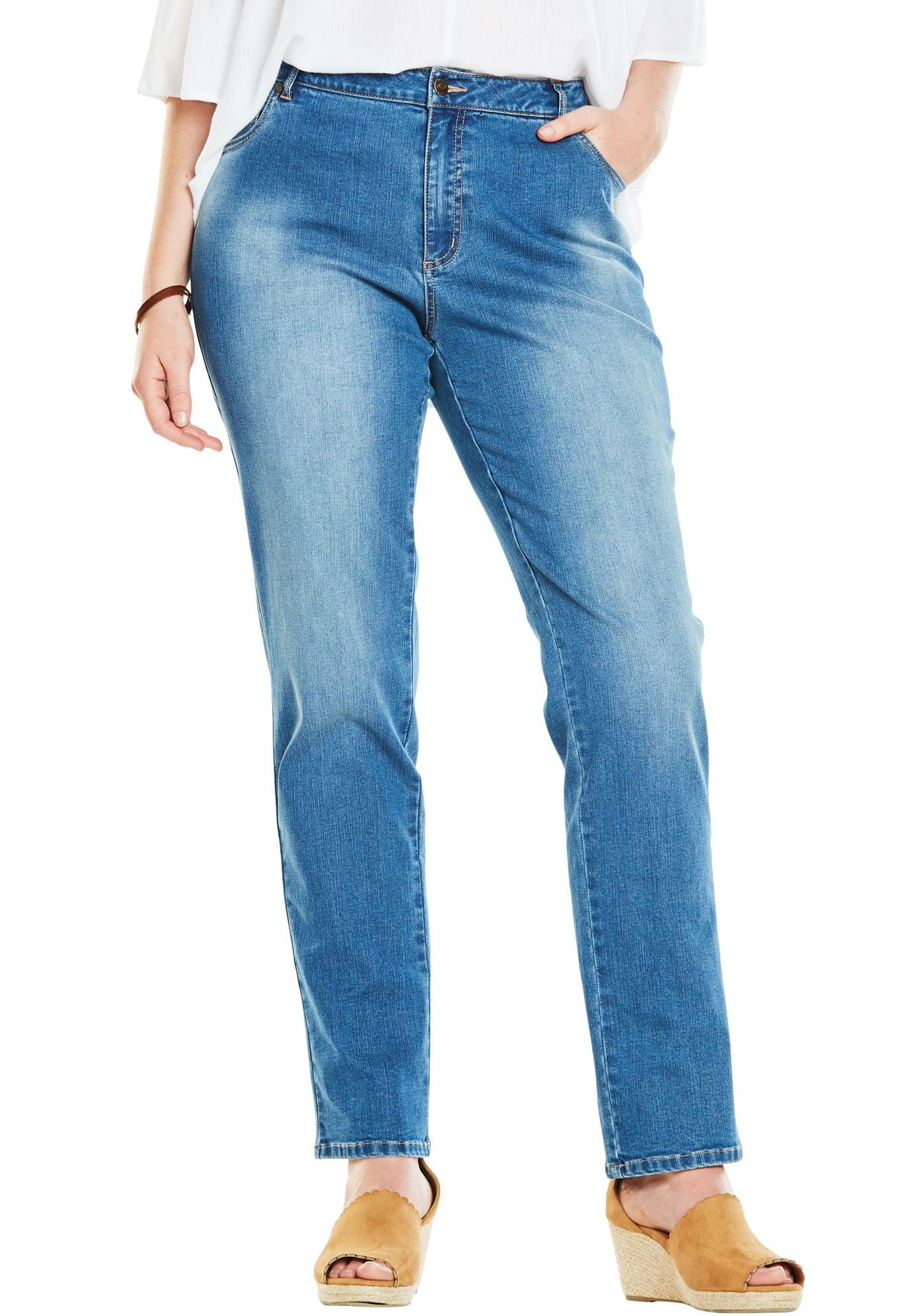 Woman Within Plus Size Tall Straight Leg Stretch Jean