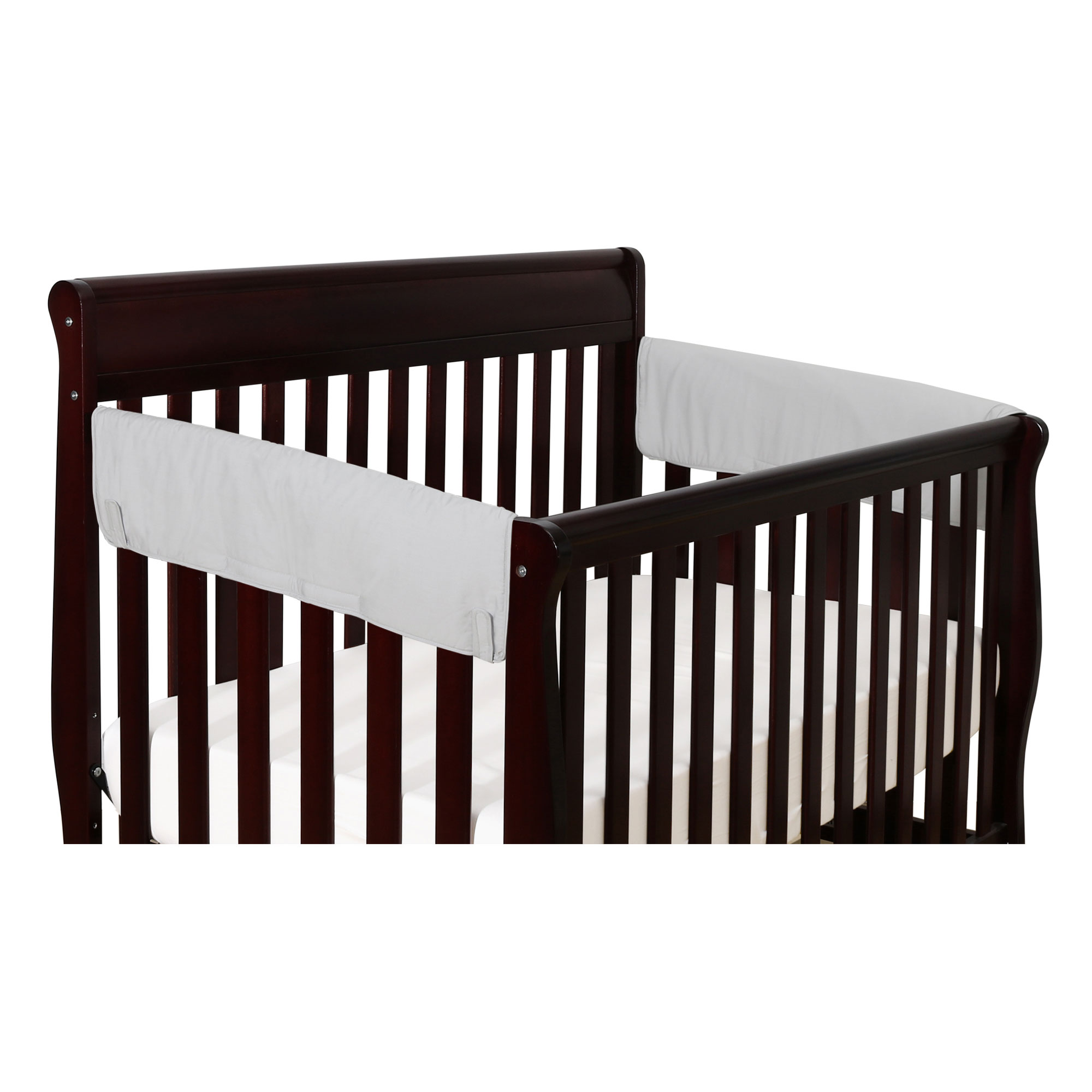 The Peanut Shell 2-Pack Side Crib Rail Guards - Solid Grey Front Crib Rail Guard Padded Protector