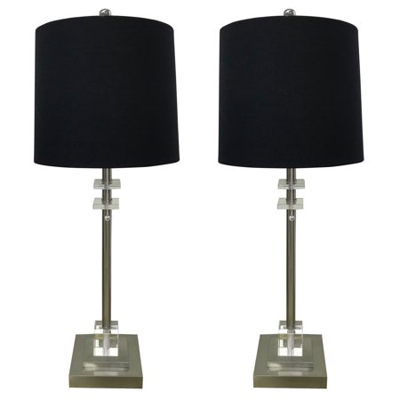 Royal Designs Set of 2 Lamps and Shades with Square Crystal Accented Base, Brush Nickel Finish with Black -