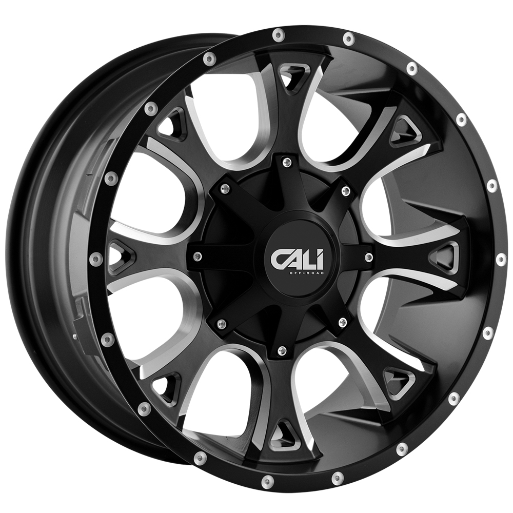"20 Inch Cali OffRoad Anarchy 20x10 8x6.5""/8x170 -19mm Black/Milled Wheel Rim"