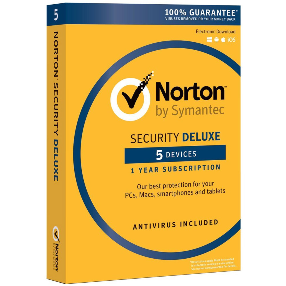 Norton Security Deluxe, 1 User, 5 Devices, 1 Year