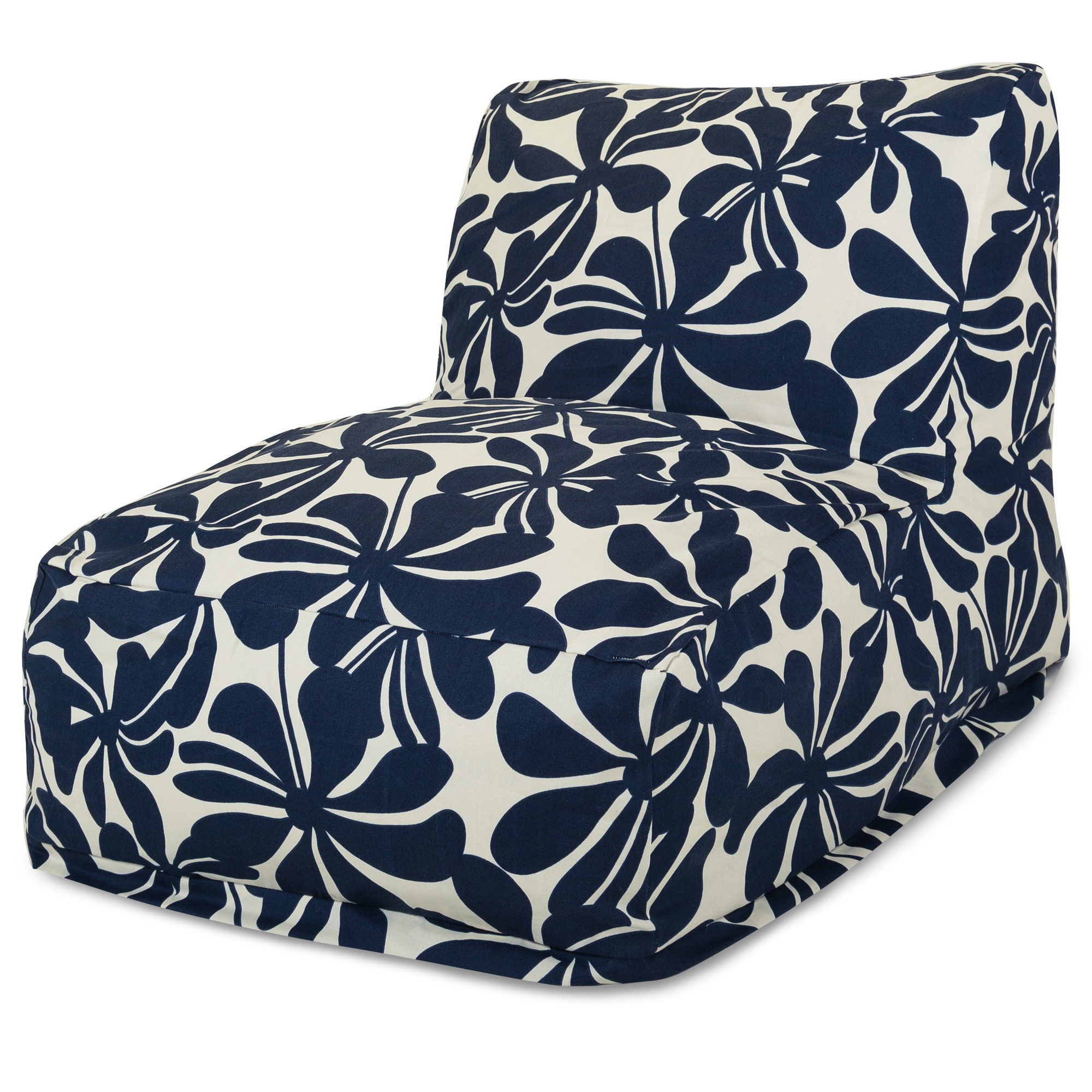 Majestic Home Goods Indoor Outdoor Navy Plantation Chair Lounger Bean Bag 36 in L x 27 in W x 24 in H