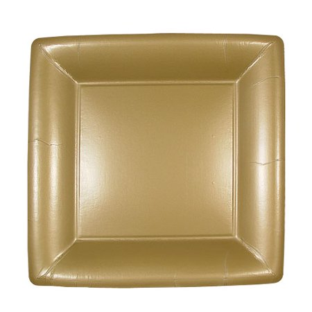 Lillian Dinnerware, Square Paper Plate, Gold, 7