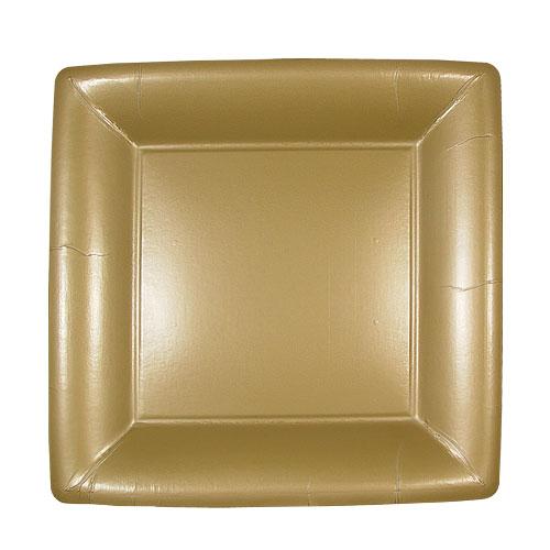 "Lillian Dinnerware, Square Paper Plate, Gold, 7"", 24 Ct"