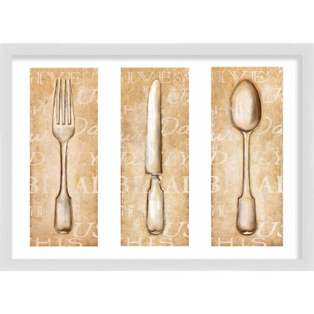 Living 31, Classic Spoon, Fork & Knife, 20 x 14.5 WALL (Knife Fork And Spoon Metal Wall Art)