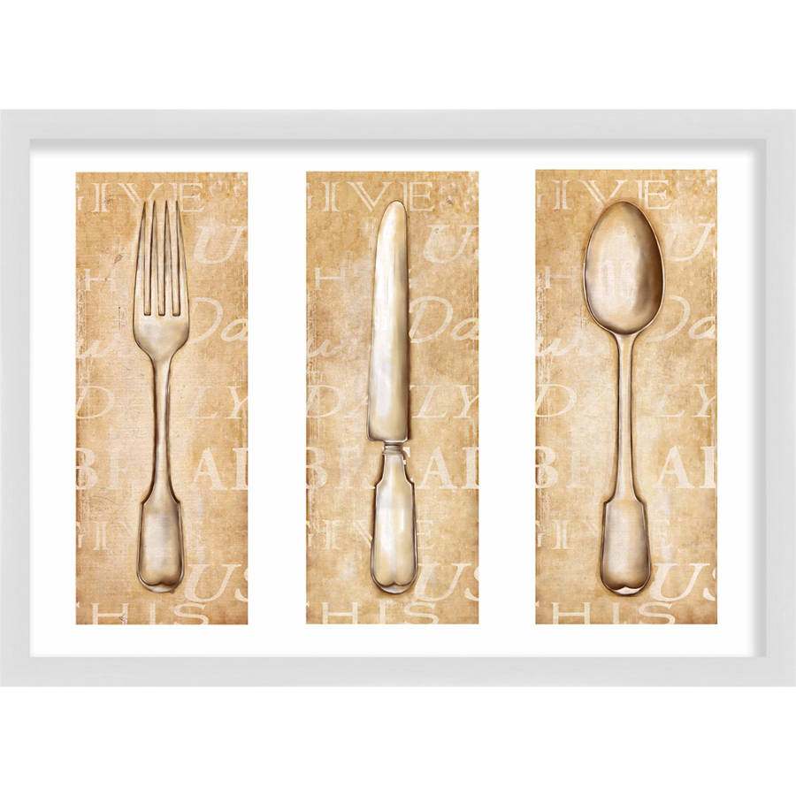 Living 31, Classic Spoon, Fork U0026 Knife, 20x14.5 WALL ART