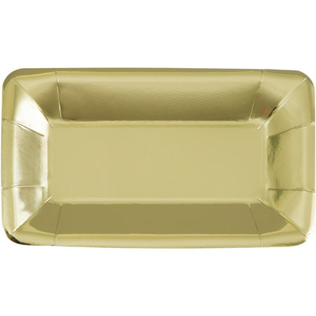 (3 Pack) Rectangular Paper Appetizer Plates, 9 x 5 in, Foil Gold, 8ct