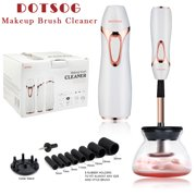 Pro DOTSOG 2019 Upgraded Makeup Brush Cleaner & Dryer Kit,with 8 Size Rubber Collars, Portable Cleaning Mat, Deep Cosmetic Brush Spinner for Makeup Brush, Beauty, Women Gifts