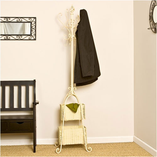Wildon Home  Melbourne Magestic Coat Rack with Storage in Ivory