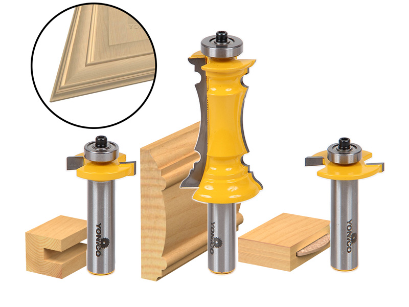 Mitered Door Router Bit Set- Frames & Molding Bit - Yonico 12230 ...