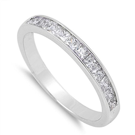 Stackable Cubic Zirconia Band - CHOOSE YOUR COLOR Wedding Band White CZ Stackable Marriage Ring New 925 Sterling Silver