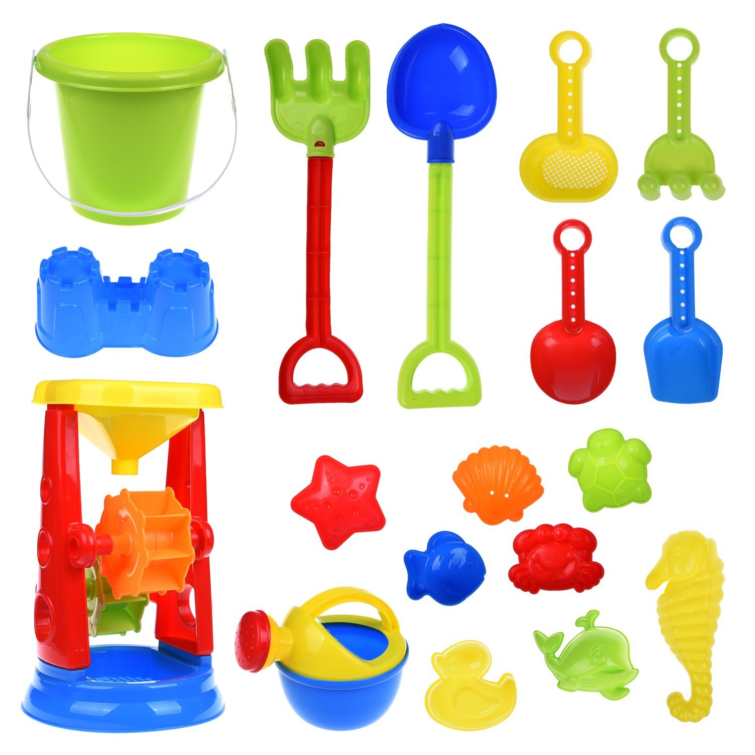 Kids Beach Sand Toys Set for Kid Gift Summer Toy with Sand Molds,Mesh Bag, Sand Wheel,Tool Play Set, Watering Can, Shovels, Rakes, Bucket ,Sea Creatures,Castle Molds 18 PCs F-129