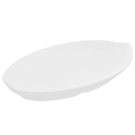 (Home Restaurant Plastic Boat Dish Serving Bowl White)