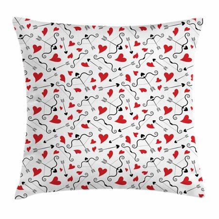 Valentines Throw Pillow Cushion Cover, Arrows of Cupid Mythological Concepts Hearts with Love and Adoration Themes, Decorative Square Accent Pillow Case, 18 X 18 Inches, Black Red White, by Ambesonne