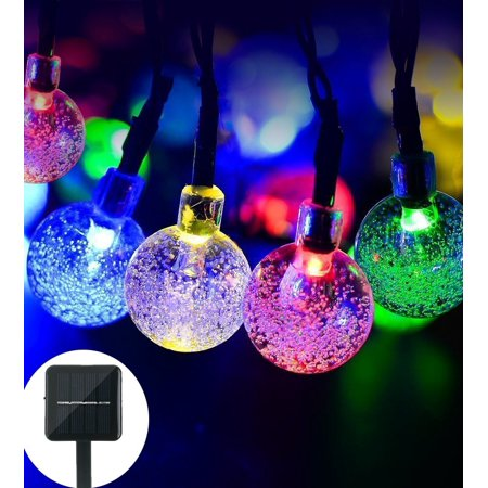 qedertek led christmas lights solar string lights globe outdoor lights 197ft 30 led fairy bubble