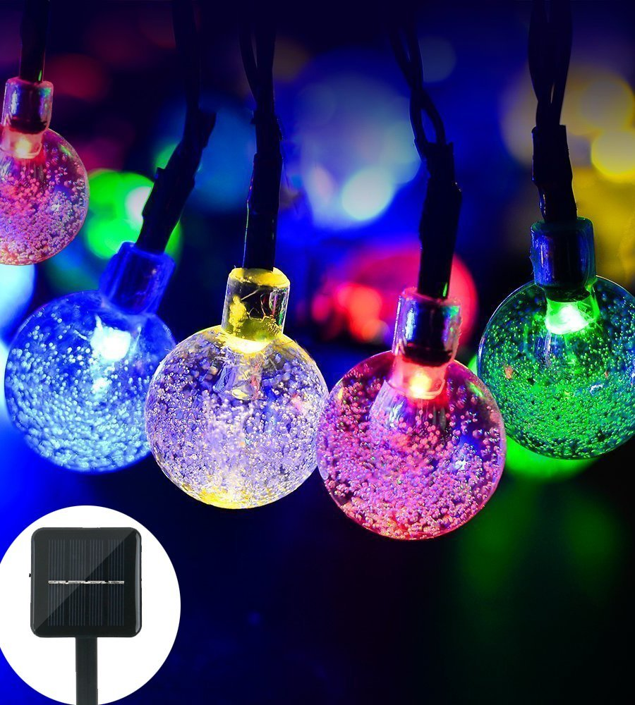 Qedertek Christmas Lights String lights Garden String Lights Globe Outdoor Lights 19.7ft 30 LED Fairy Bubble Crystal Ball Lights for Outdoor,Yard,Patio,Party,Home Decoration(Multi Color)