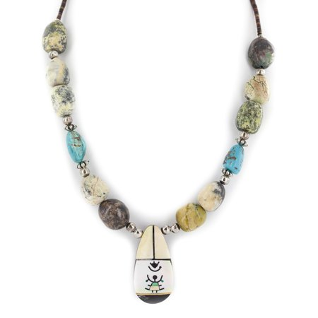 Authentic Navajo Inlay (Certified Authentic Navajo .925 Sterling Silver Inlay Natural Turquoise Mother of Pearl Green Jasper Native American Necklace )