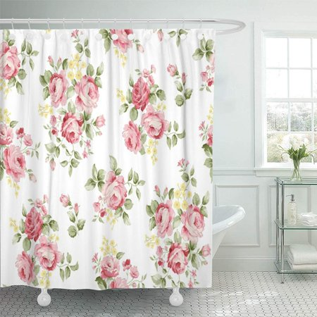 PKNMT Colorful Anemone Beautiful Rose Flower Pattern Little Floral Bouquet Vintage Shower Curtain Bath Curtain 66x72 inch