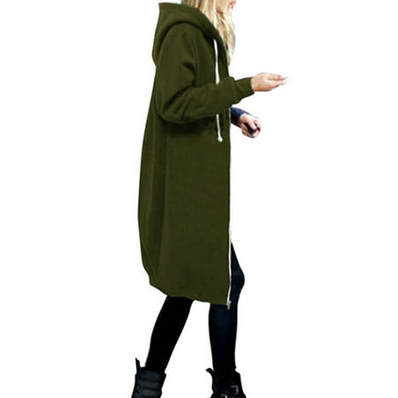 Plus Size S-XXXXXL Women Zip up Long Hoodie Coat Warm Hooded Jacket Parka Overcoats Winter Zipper Outwear Oversized Long Tops Casual Solid Hoody