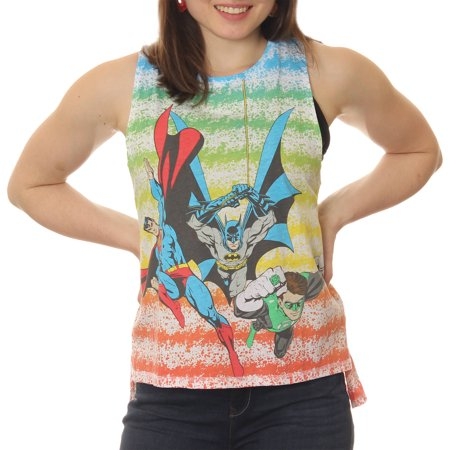 Juniors' Superman, Batman, and The Green Lantern Striped Side Split High Low Sleeveless Muscle Graphic Tee