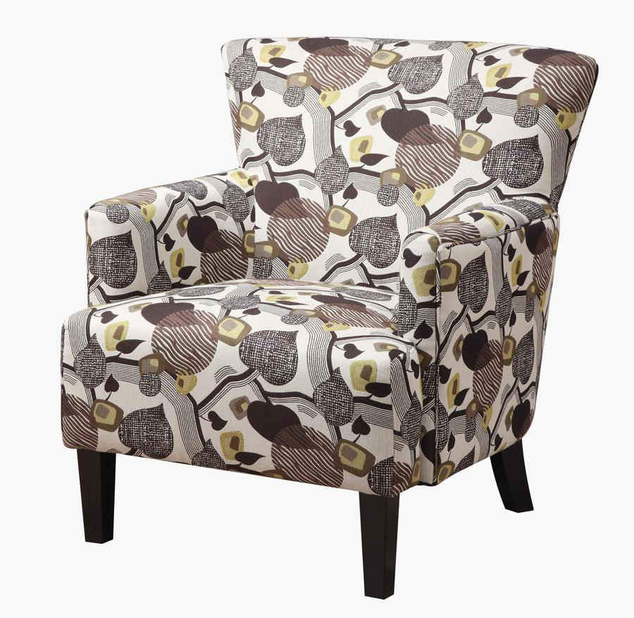 Marion Accent Chair With Leaf Print-Finish:Beige/Mulit Color