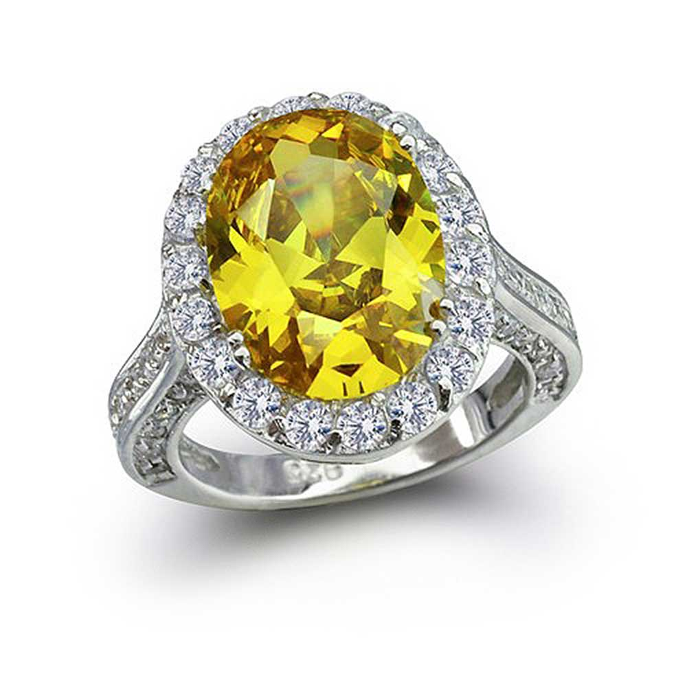Bling 925 Sterling Silver Oval 6ct Simulated Canary Yello...