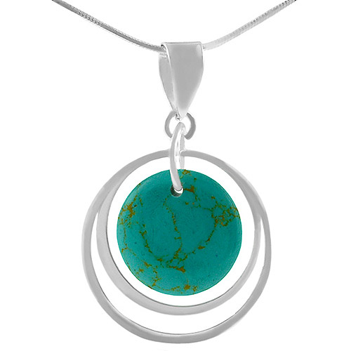 Brinley Co. Turquoise Sterling Silver Pendant, 18""
