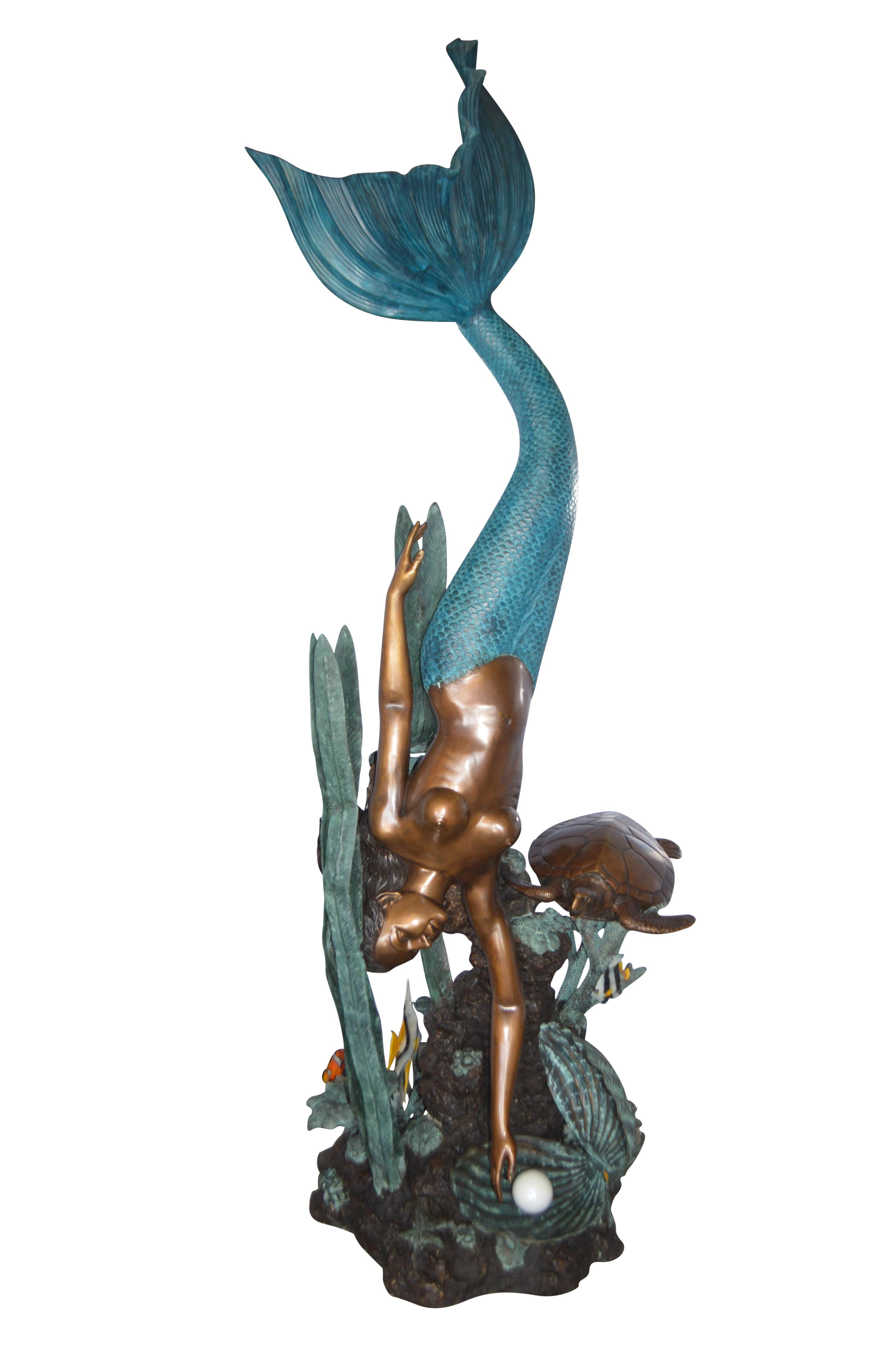 Mermaid Diving For A Pearl Fountain Bronze Statue Size 34 Quot L X 27 Quot W X 93 Quot H Walmart Com Walmart Com