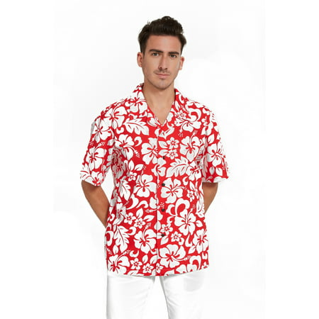 Aloha Shirt Island Decor - Hawaii Hangover Hawaiian Shirt Aloha Shirt in Classic Hibiscus Red XL