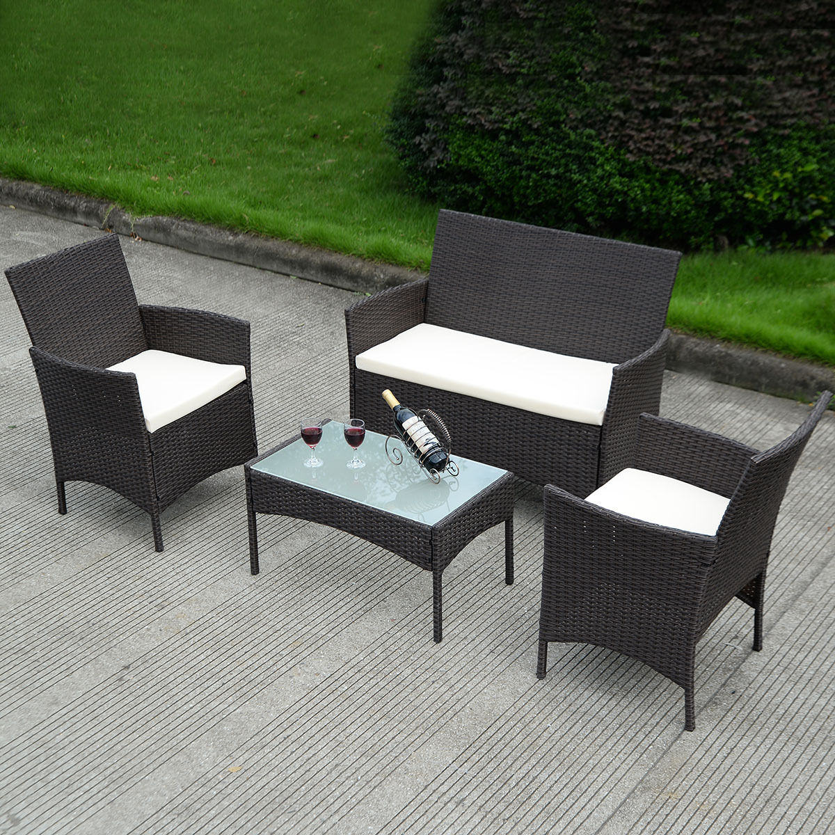 High Quality Costway 4 PC Patio Rattan Wicker Chair Sofa Table Set Outdoor Garden  Furniture Cushioned
