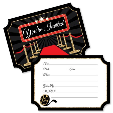 Red Carpet Hollywood - Shaped Fill-In Invitations - Movie Night Party Invitation Cards with Envelopes - Set of 12 - Hollywood Theme Invitation
