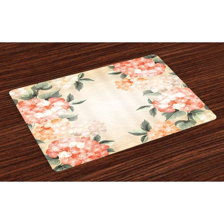 Floral Placemats Set of 4 Blooming Hydrangea Flowers Leaves Bouquet Vintage Style Spring Nature Print, Washable Fabric Place Mats for Dining Room Kitchen Table Decor,Salmon Reseda Green, by Ambesonne ()