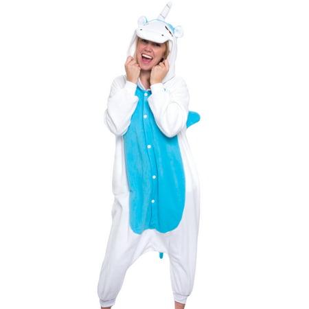 SILVER LILLY Adult Blue Unicorn Plush One Piece Animal Cosplay Costume Pajamas M