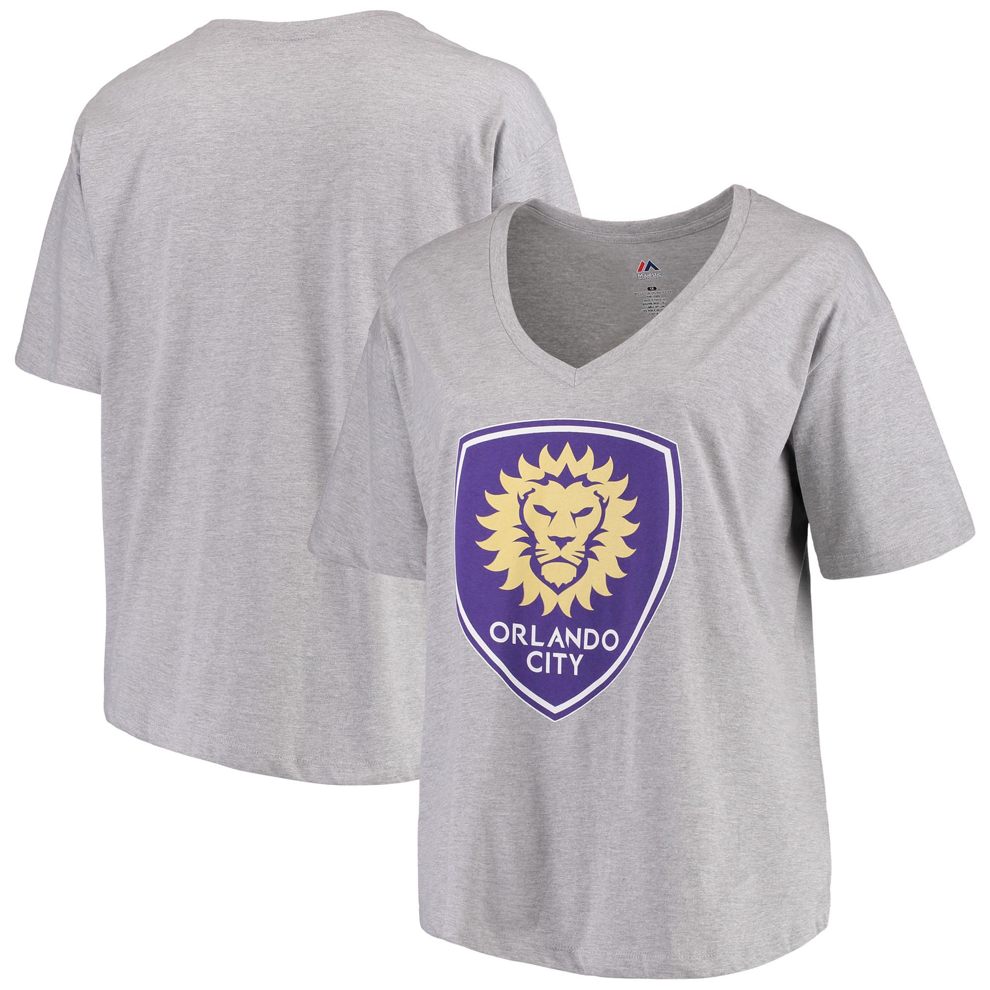 Orlando City SC Majestic Women's Plus Size Primary V-Neck T-Shirt - Gray