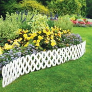 4 Pc Outdoor Flexible Weatherproof Plastic Garden Edging Border, White, Fence can be curved to fit the contour of any path By LATTICE FENCE