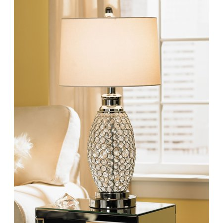 Possini Euro Design Modern Table Lamp Polished Metal Beaded Crystal White Drum Shade for Living Room Family Bedroom Bedside -
