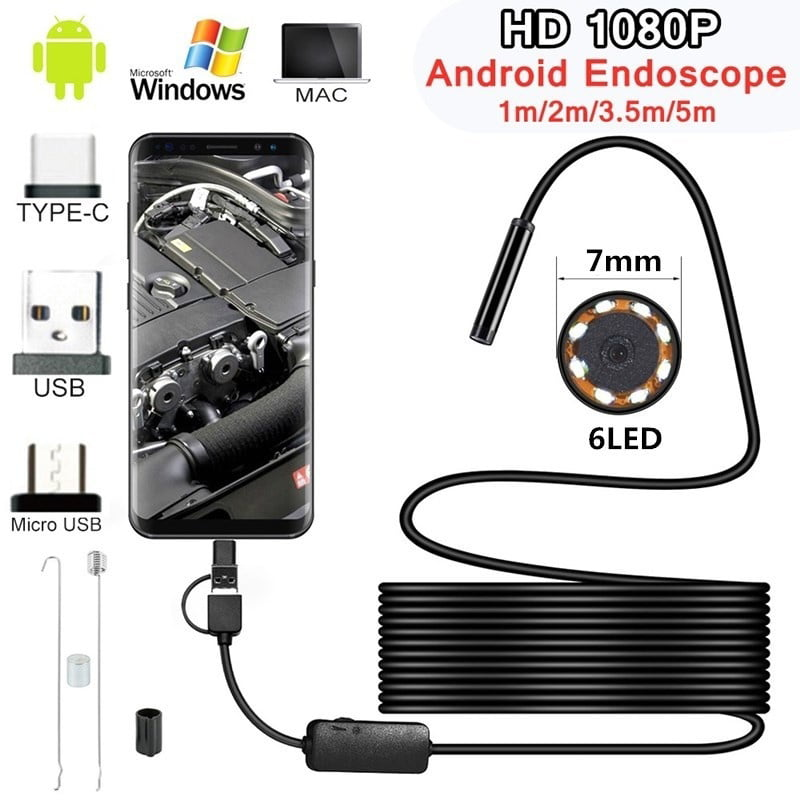 Size : 1m USB Mini Endoscope Camera 7mm 2m 1m 1.5m Flexible Hard Cable Snake Borescope Inspection Camera for Android Smartphone PC