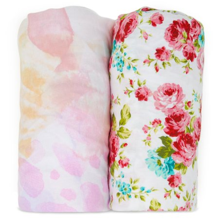 Kids N' Such Bassinet Sheets - Premium Jersey Knit Cotton- Will fit ANY Bassinet Mattress Size or Shape - Super Soft - Safe for Babies - 2 Pack Bassinet Co Sleeper Sheets - Fleur and Floral 2 Pack Flat Sheets