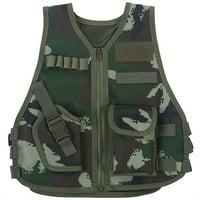 Children Camouflage Vest with Multi Pocket for Combat Outdoor Hunting Game, Kid Hunting Vest, V-neckline Vest