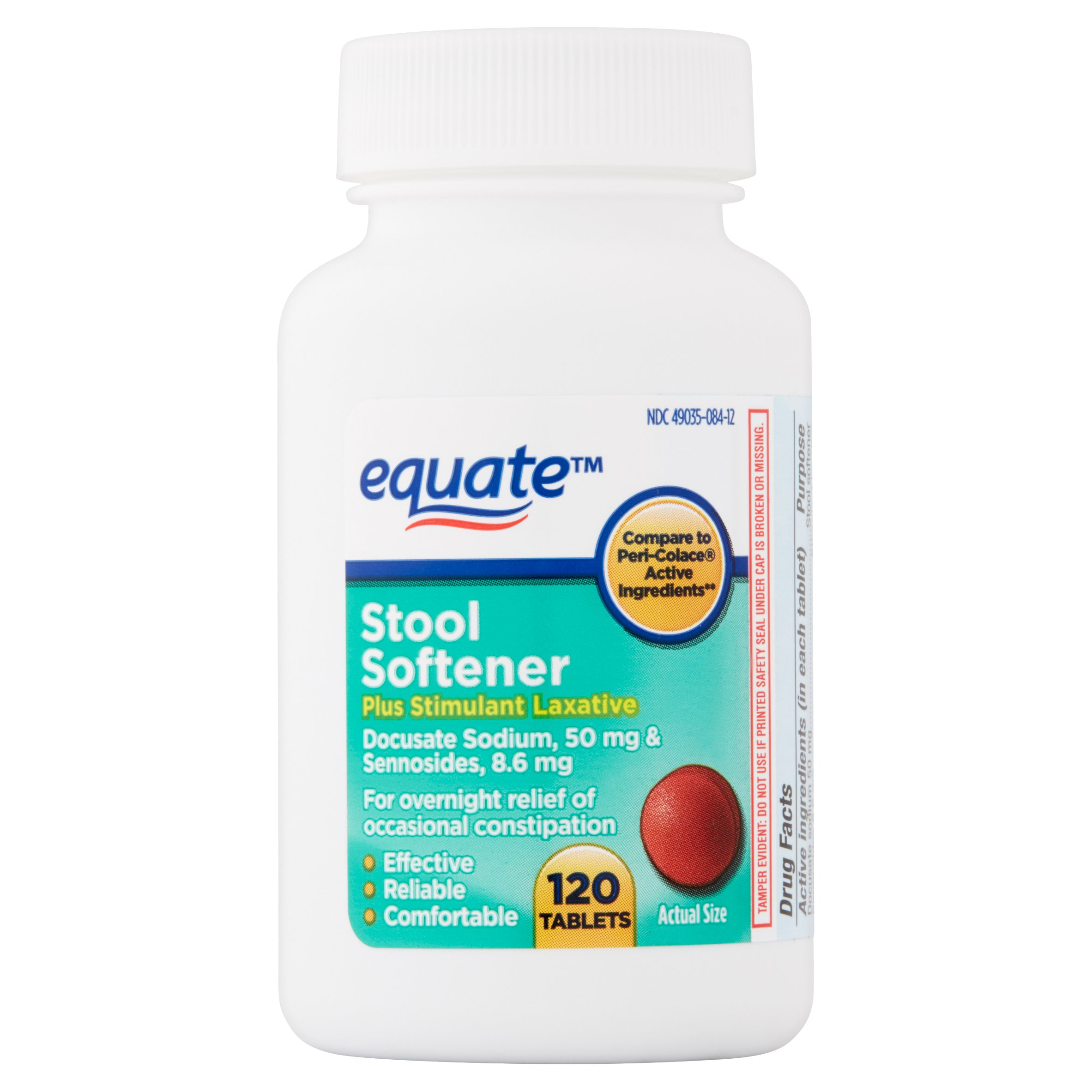 Equate Stool Softener Plus Stimulant Laxative Tablets, 50 mg, 120 Ct