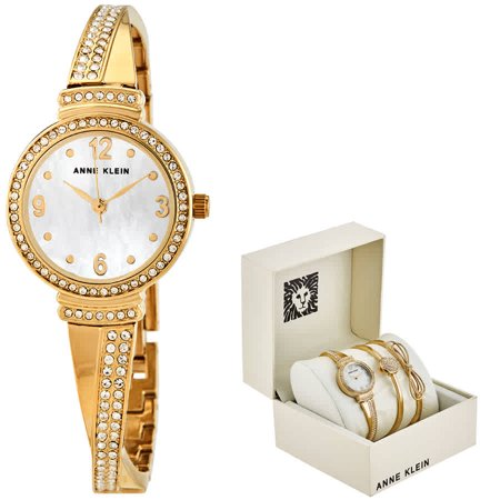 Anne Klein Quartz Crystal White Mother of Pearl Dial Ladies Watch and Bracelet Set AK/3178GBST Flowers Mother Of Pearl Bracelet