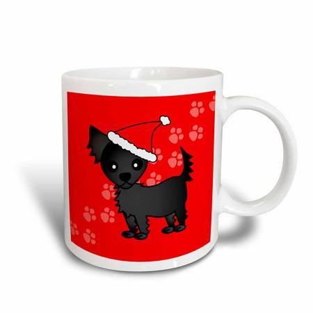 Chihuahua Santa - 3dRose Cute Black Longhaired Chihuahua Red with Santa Hat, Ceramic Mug, 15-ounce