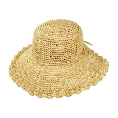 Crochet Raffia Straw Ruffle Brim Sun Hat - ONE SIZE FITS MOST - (Crochet Straw)