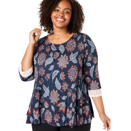 Woman Within Plus Size Crochet-sleeve Tunic