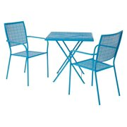 Set 1 -Steel Folding Table And 2 Steel Chairs-Finish:Blue,Quantity:3 Piece