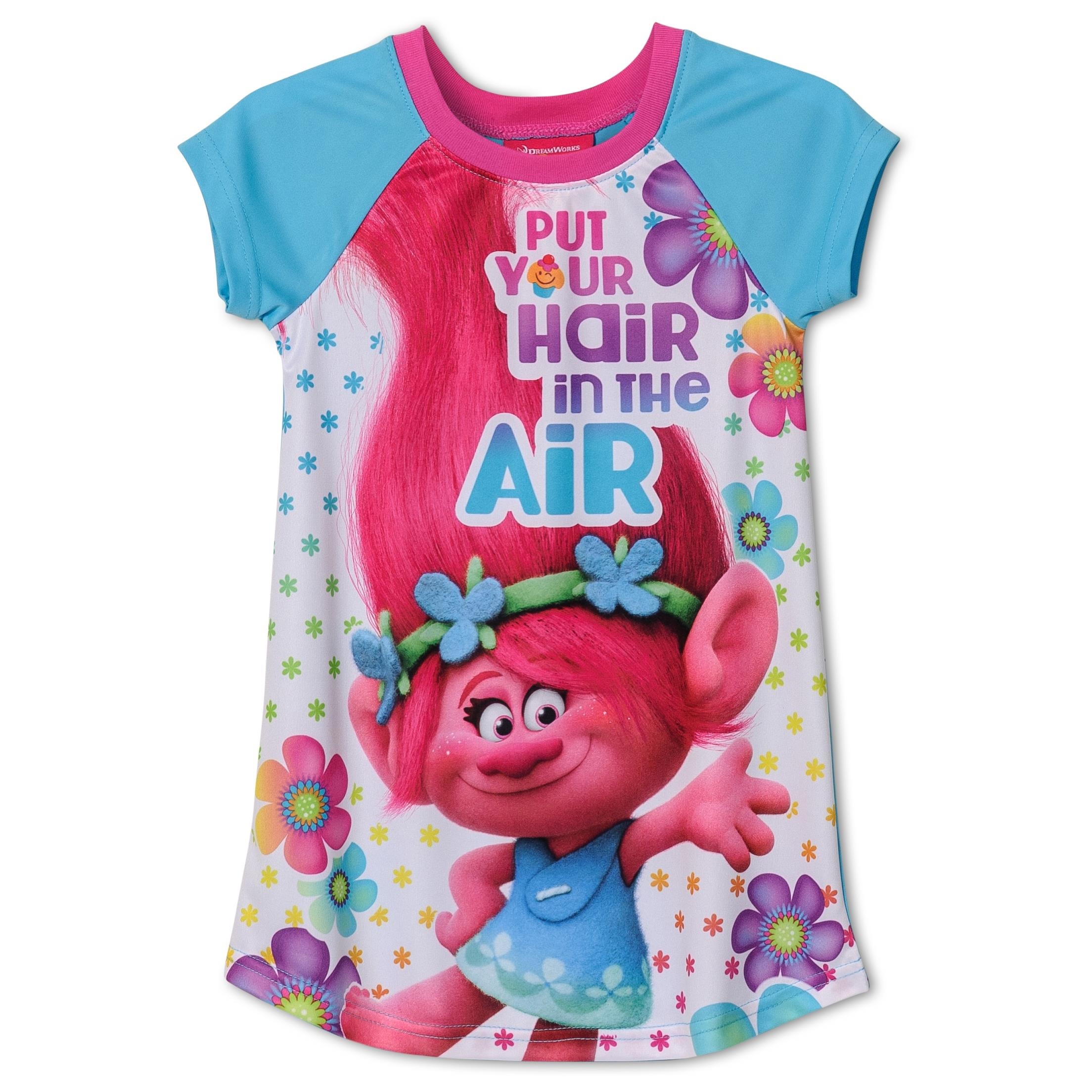 Dreamworks Movie Trolls Put Your Hair Up Nightgown for Little Girls